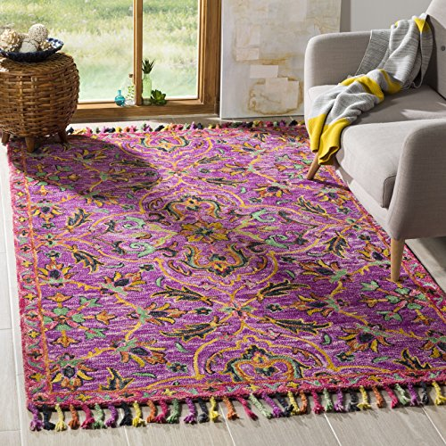 (Safavieh BLM451A-5 Blossom Collection Floral Vines Premium Wool Area Rug, 5' x 8', Purple/Multicolored)