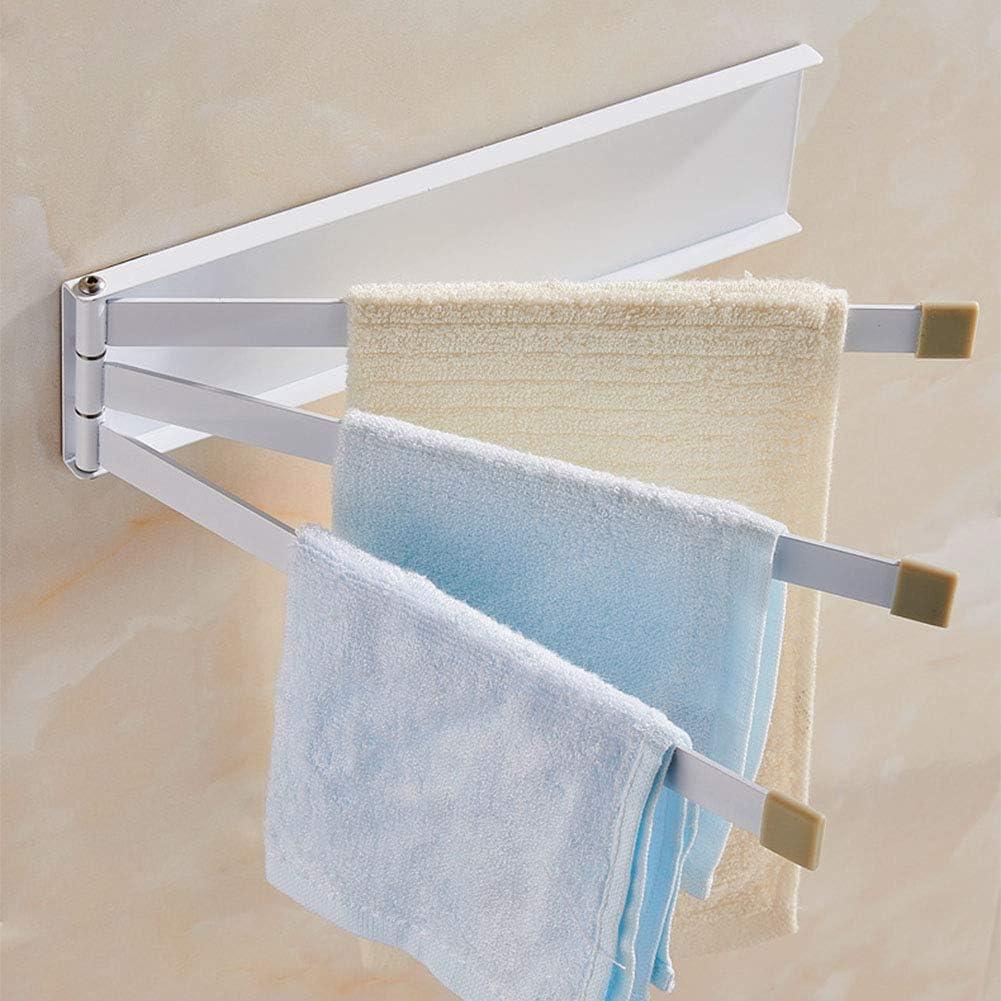 Free Size Blanco Centeraly Ra/íl Giratorias Soporte Plegable Toallero 180 Grados Giratorio Adhesivo de Pared