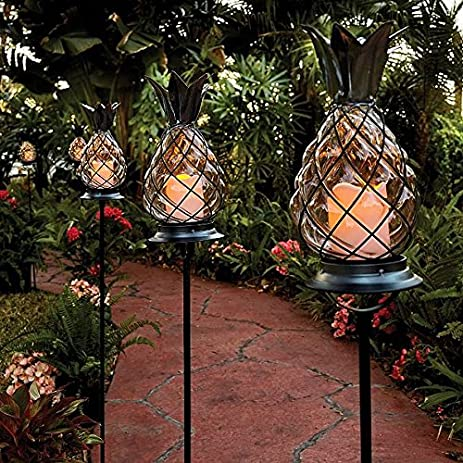 Amazon set of 3 outdoor battery operated tropical tiki glass set of 3 outdoor battery operated tropical tiki glass black metal pineapple pathway stakes lights lanterns aloadofball Gallery