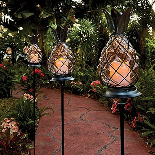 Set of 3 Outdoor Battery Operated Tropical Tiki Glass Black Metal Pineapple Pathway Stakes Lights Lanterns Lawn Landscape Lighting (Outdoor Tropical Lighting)