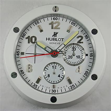 Hublot Silencioso Luminoso Sweep Reloj De Pared, Blanco + Blanco
