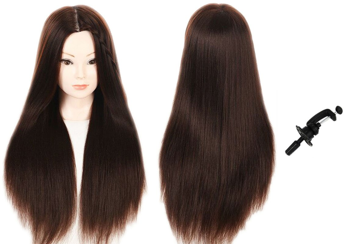 MMZ Mannequin Head, 28 Inches Long Hair Styling Training Head Manikin Cosmetology Doll Head Synthetic Fiber Hair with Free Table Clamp