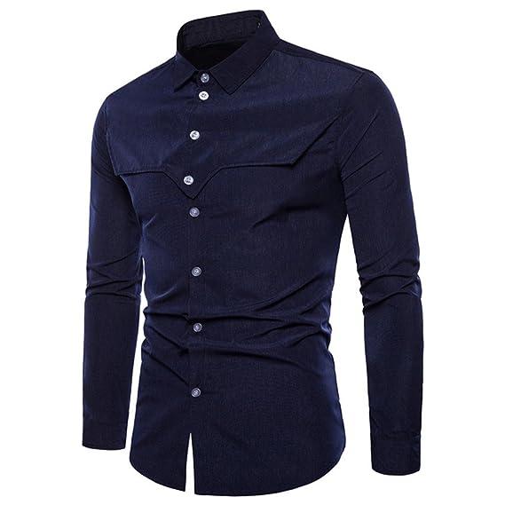... de 2018 Mantener Caliente Manga Larga para Hombre Oxford Trajes Formales Casuales Slim Fit tee Camisas de Vestir Blusa Top: Amazon.es: Ropa y accesorios