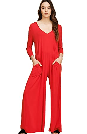 b50ae9dbf37b Amazon.com  Annabelle Women s Comfy 3 4 Sleeve V-Neck Wide Legs Palazzo  Pants Romper Hoodie Jumpsuits  Clothing