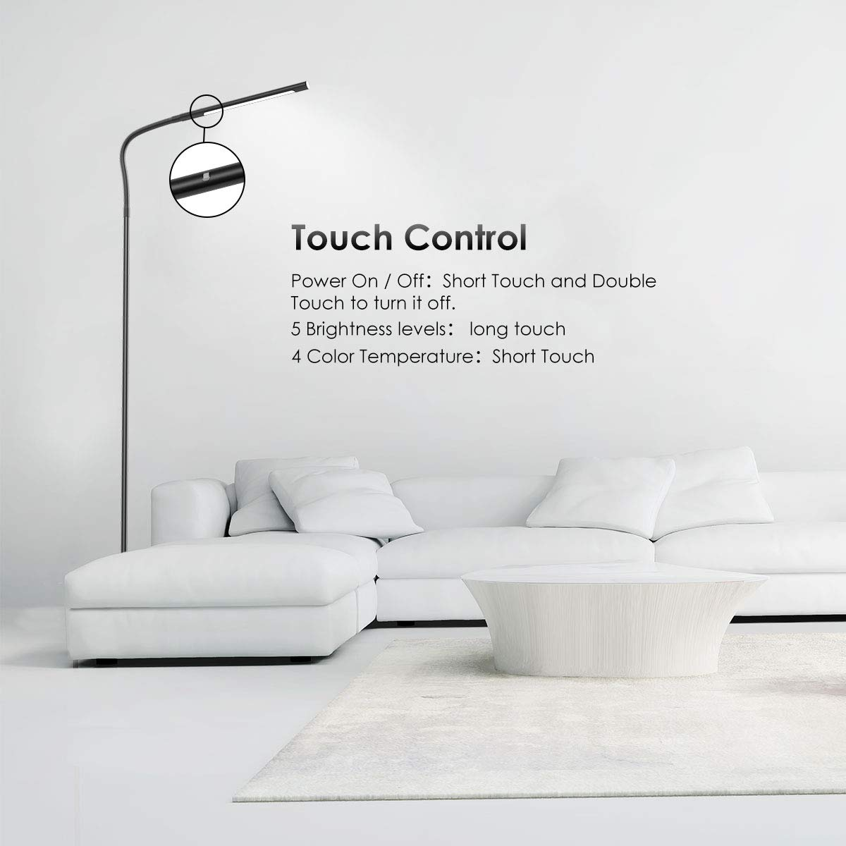 Joly Joy Floor Lamps for Living Room, 12W Dimmable Flexible Gooseneck Standing Lamp, Reading Light with Touch Remote Control, 4 Color & 5 Brightness Dimmer, LED Floor Lights for Bedroom, Chair, Couch