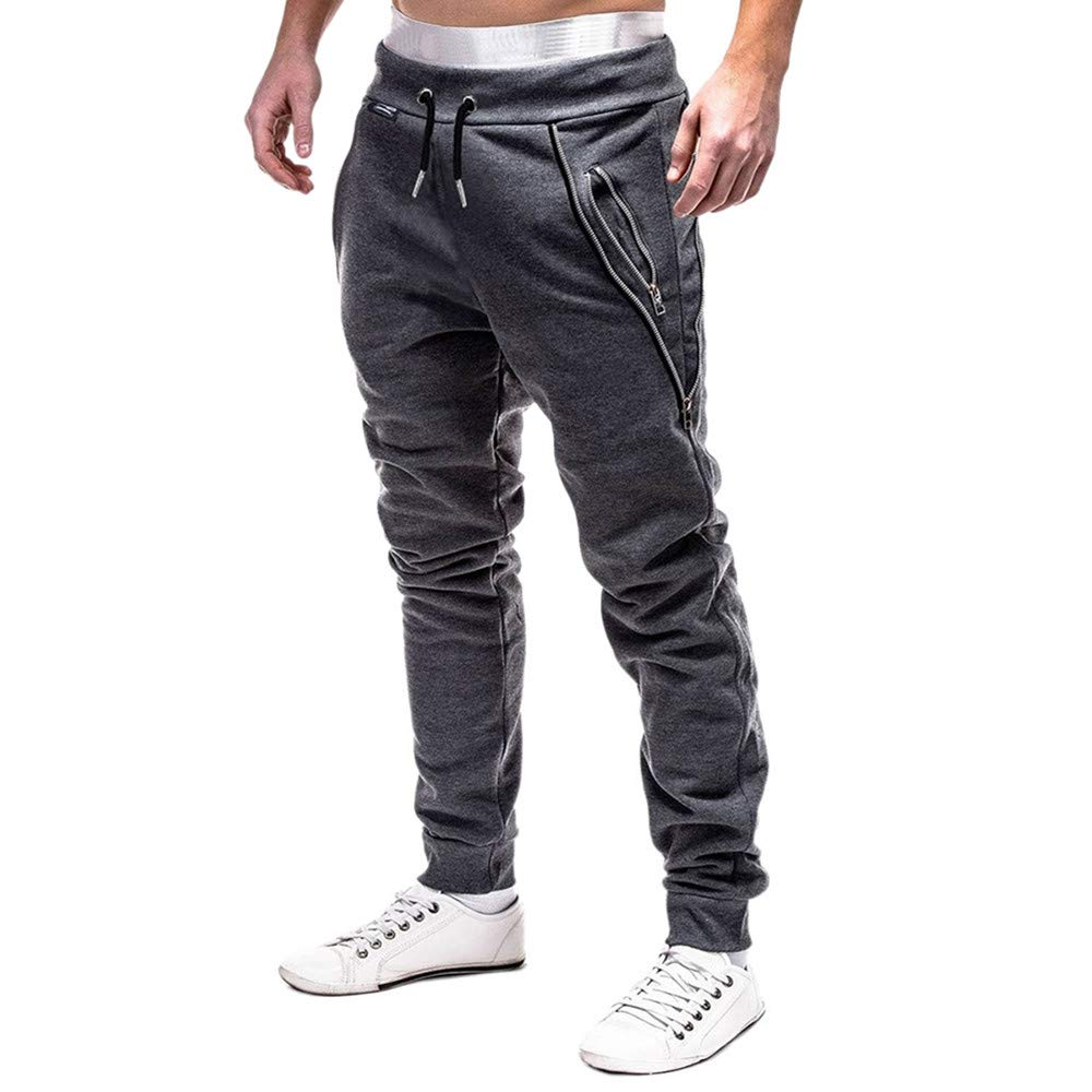 Molyveva Men Fashion Sweatpants Zipper Drawstring Casual Loose Solid Sport Pants by Molyveva Men Pants