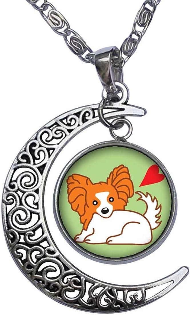 GiftJewelryShop Cartoon Papillion Dog Crescent Moon Galactic Universe Glass Cabochon Pendant Necklace