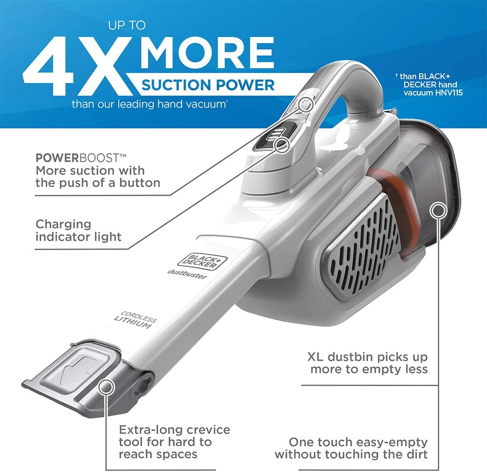 BLACK+DECKER dustbuster Handheld Vacuum, Cordless, AdvancedClean+, White (HHVK320J10): Home & Kitchen