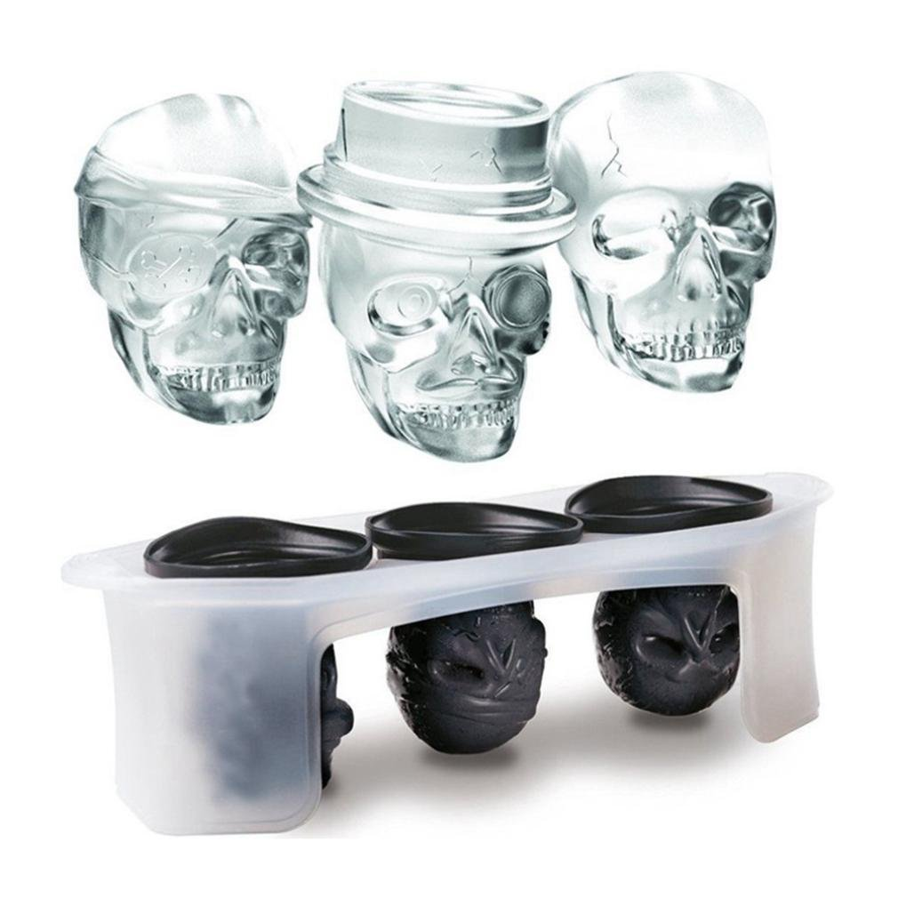 Highpot 3D Skull Shape Silicone Ice Cube Mold Tray, Makes Three Giant Skulls, Ice Cube Maker in Shapes for Whiskey Ice and Cocktails Highpot11