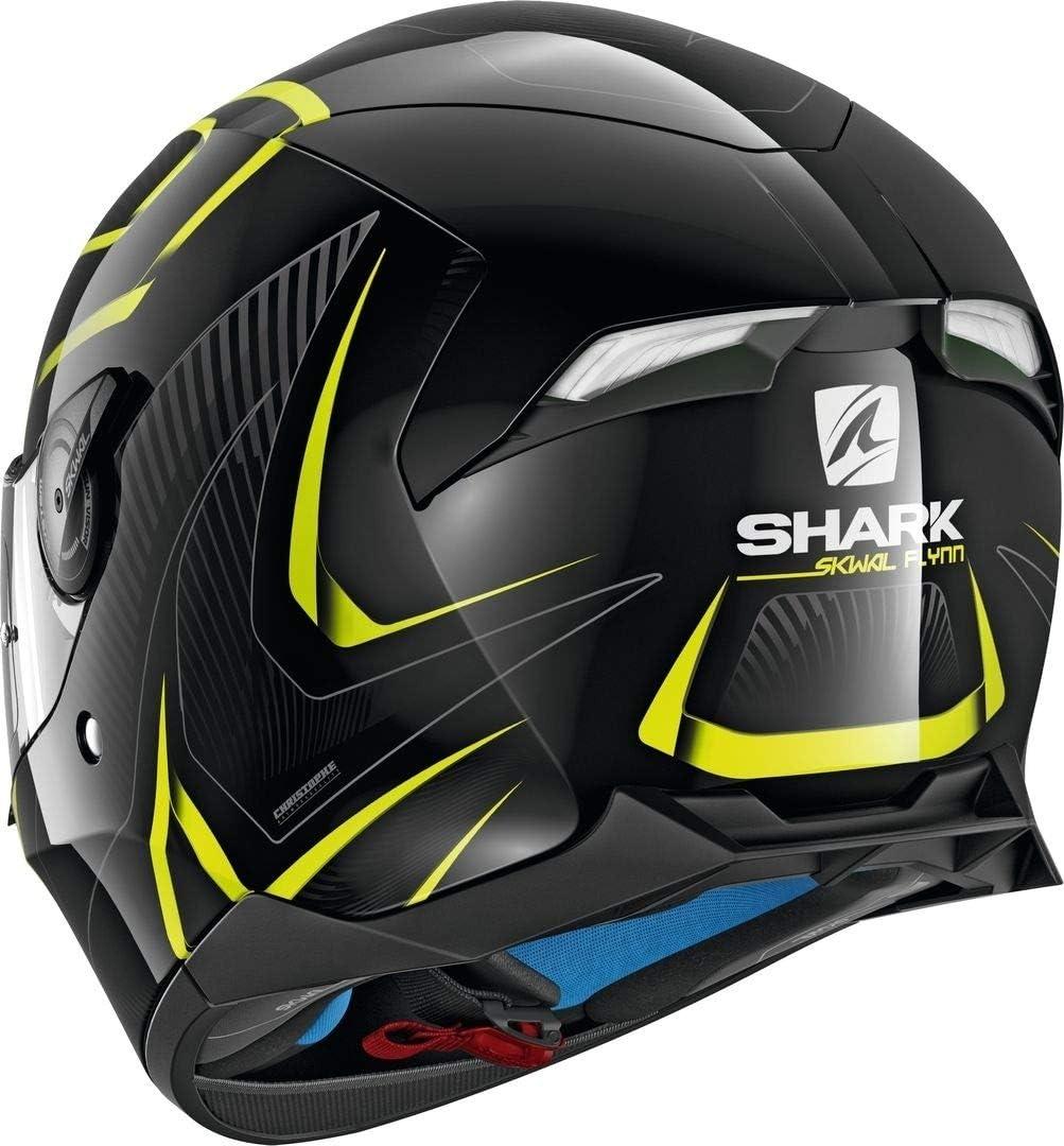 XS Noir//Jaune Shark Casque moto SKWAL 2 FLYNN WHT LED KYA