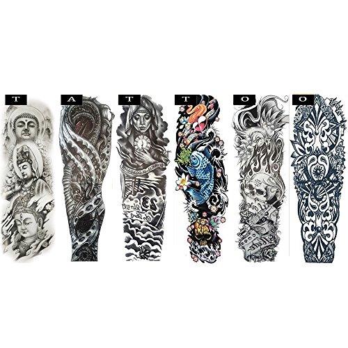 Pinkiou Temporary Tattoo Full Arm Body Stickers Arm Shoulder Tattoo For Man Women Buddha, Skull, Eagle eye, Beauty and Beast Etc (18-0094)