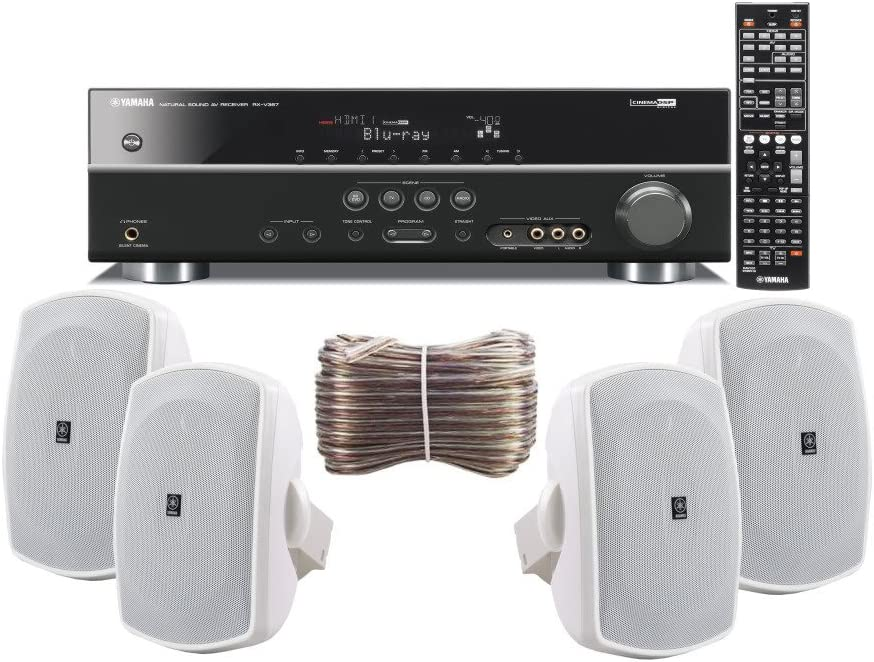 Yamaha 3D-Ready 5.1-Channel 500 Watts Digital Home Theater Audio/Video Receiver with 1080p-compatible HDMI repeater & Upgraded CINEMA DSP + Set of 4 Yamaha All Weather Indoor / Outdoor 130 watt Wall Mountable Natural Sound 2-way Acoustic Suspension Speakers - White + 100ft 16 AWG Speaker Wire