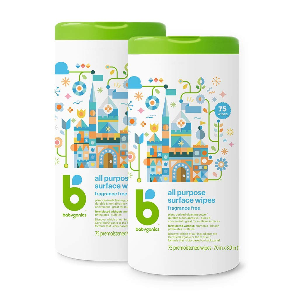 Babyganics All Purpose Surface Wipes, Fragrance Free, 150 Count (contains Two 75-count canisters) by Babyganics