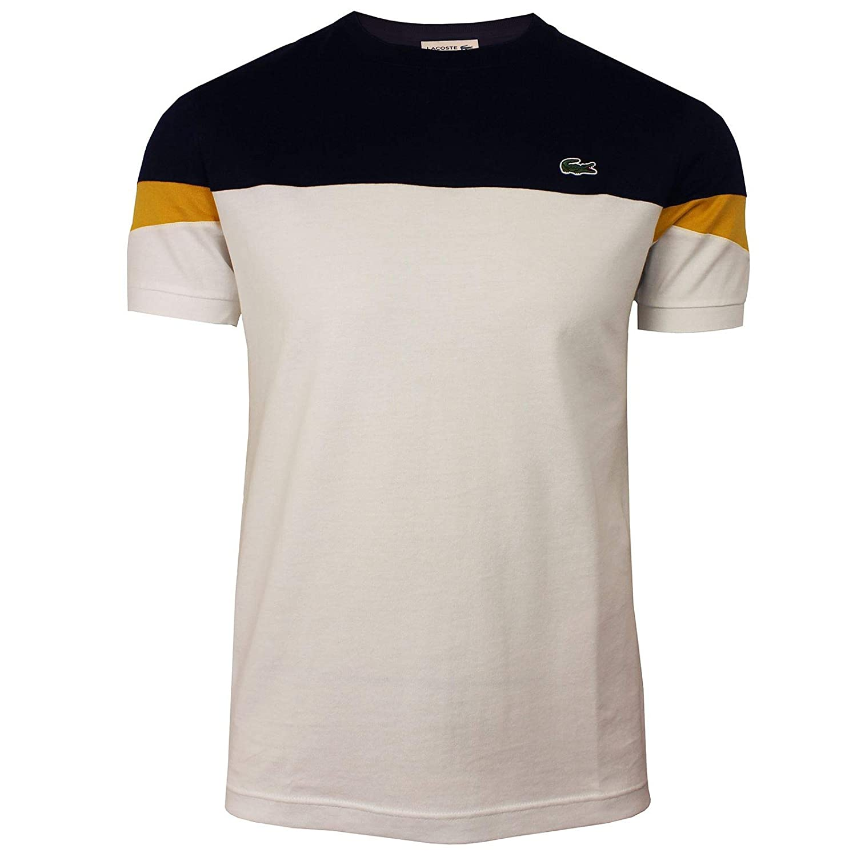 b8f6d1ad Lacoste Mens Crew Neck Colour Block Tee Shirt in Navy/Cream (XX ...