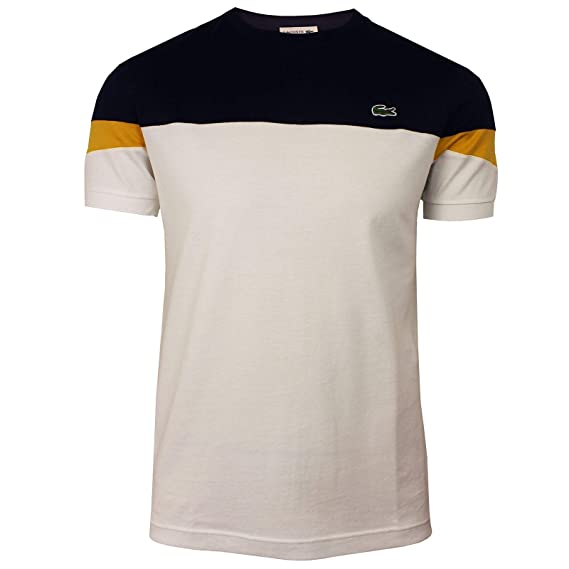 5ab73ff734931d Lacoste Mens Crew Neck Colour Block Tee Shirt in Navy/Cream (XX-Large