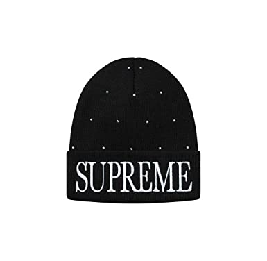 5b835958f65b8 Image Unavailable. Image not available for. Color  SupremeNewYork Supreme  Studded Beanie Black 100% Authentic ...