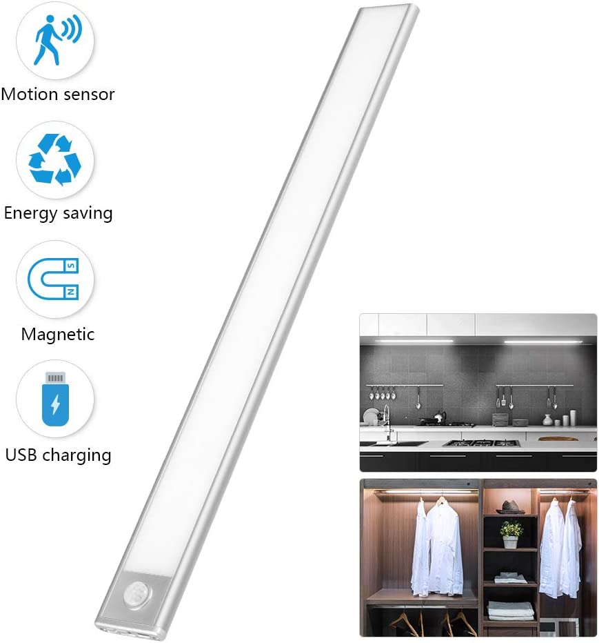 Ultra Thin Under Cabinet Lighting Wireless with 70 LED Bulbs- Motion Sensor Light for Kitchen Counter Stairs Hallway Wardrobe Closet Light, USB Rechargeable Magnet LED Lights Stick on Anywhere 16In