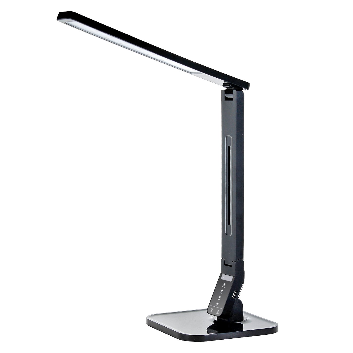 Tenergy 11W Dimmable Desk Lamp with USB Charging Port, LED Adjustable Lighting for Reading, 5 Brightness Levels 4 Light Colors Table Light
