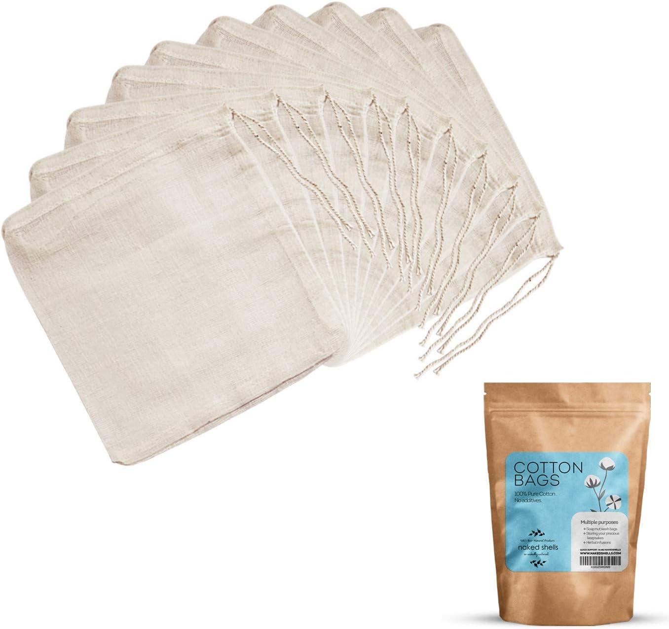 NAKED SHELLS Bolsas de 100% algodón con Cuerdas Multi Pack (Pack de 10)   Multiusos: Soap Nuts Bolsas de lavandería, almacenar Joyas, Recuerdos, infusión de Hierbas