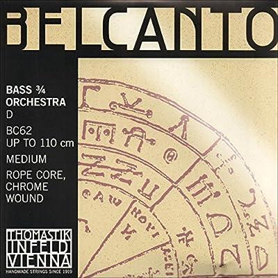 Thomastik Belcanto 3/4 String Bass D String - Medium Gauge - Chromium/Steel Rope