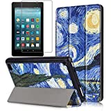 Gzerma Fire 7 Case 2017 Release with Screen Protector for All-New Fire 7 Tablet, Folio Standing PU Leather Cover with Auto Wake/Sleep, Shatter-proof Protective Film for Amazon Fire7 7th Gen, Sky