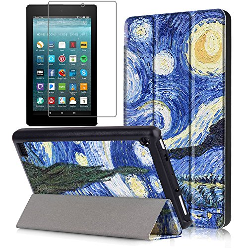 7 Tablet Folio (Gzerma Fire 7 Case 2017 Release with Screen Protector for All-New Fire 7 Tablet, Folio Standing PU Leather Cover with Auto Wake/Sleep, Shatter-proof Protective Film for Amazon Fire7 7th Gen, Sky)