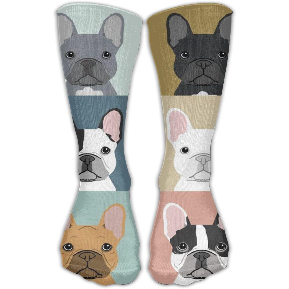 c28540363ed7 Amazon.com: Fashion French Bulldogs Dog Knee Socks Athletic Crew Socks For  Girls: Clothing