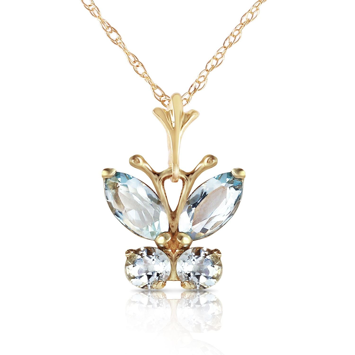 ALARRI 0.6 Carat 14K Solid Gold Butterfly Necklace Aquamarine with 22 Inch Chain Length