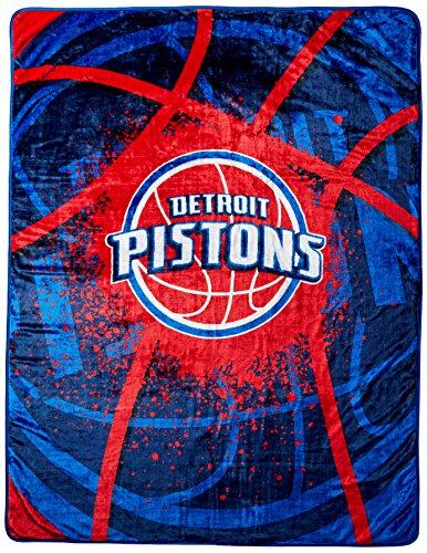 Piston Binding - Officially Licensed NBA Detroit Pistons Shadow Play Plush Raschel Throw Blanket, 60