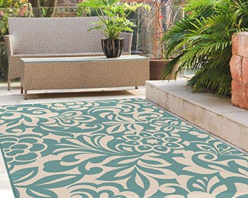 Universal Rugs Indoor Outdoor Floral 5 ft. 3 in. x 7 ft. 3 in. Area Rug , Aqua (Outdoor Rug Tropical)