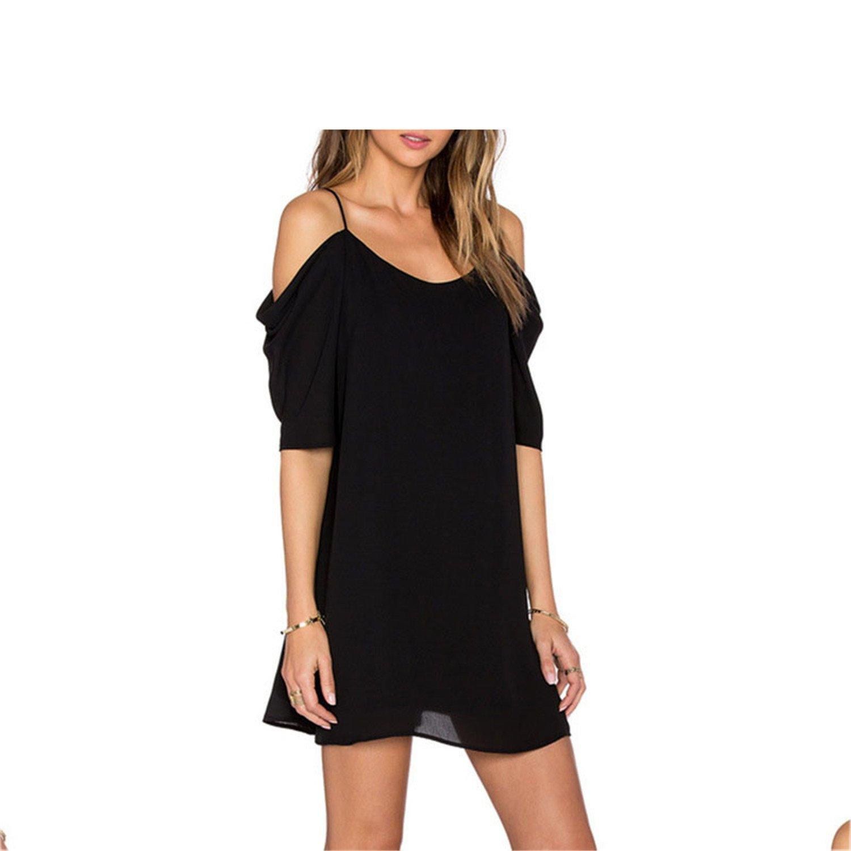Amazon.com: Eloise Isabel Fashion Mulheres chiffon blusa da moda cor sólida fora do ombro slip dress curto das senhoras da luva vestidos curtos de verão: ...