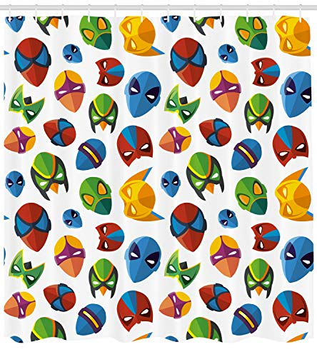 Ambesonne Superhero Shower Curtain, Legendary Cartoon Character Masks Flash Batman Spider-Man Comic Costume Print, Fabric Bathroom Decor Set with Hooks, 70 Inches, Multicolor ()