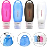 Leakproof FDA Silicone Travel Bottles Set Protable Squeezable and Refillable Bottle Container for Shampoo, Conditioner, Lotion, Toiletries, TSA Approved Airline Carry-On (89ml)