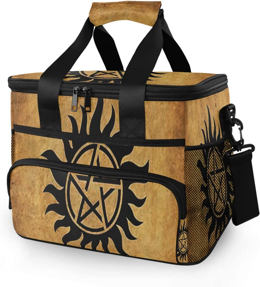 SLHFPX 15L Picnic Basket Keeps Food Hot/Cold for 12 Hours Lunch Tote Supernatural Anti Possession Demon Devil's Trap Insulated Picnic Cooler Bag for Grocery, Camping, Car,Travel, Shopping, Outdoor