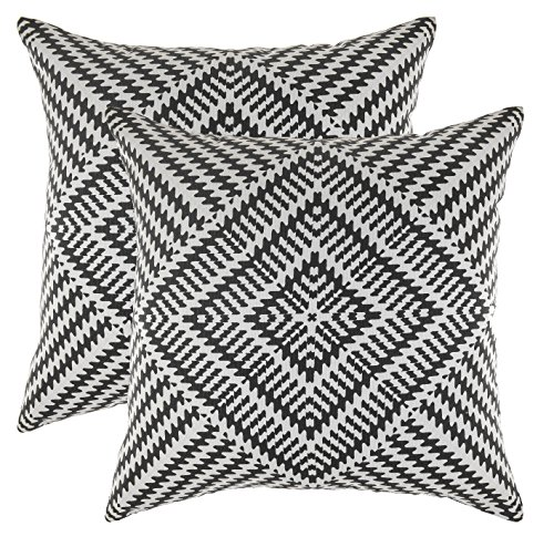TreeWool, Soft Cotton Kaleidoscope Accent Decorative Throw Pillowcases (2 Cushion Covers; 18 x 18 Inches; Black & White)