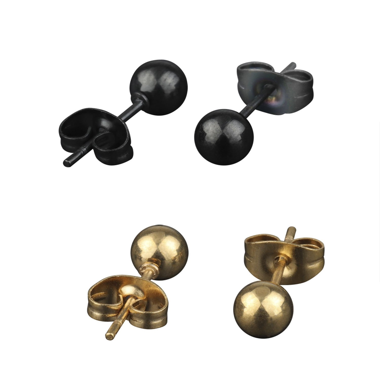 A++ 316L Surgical Stainless Steel Round Ball Studs Earrings 2 Pair Black & Gold 4mm Ball
