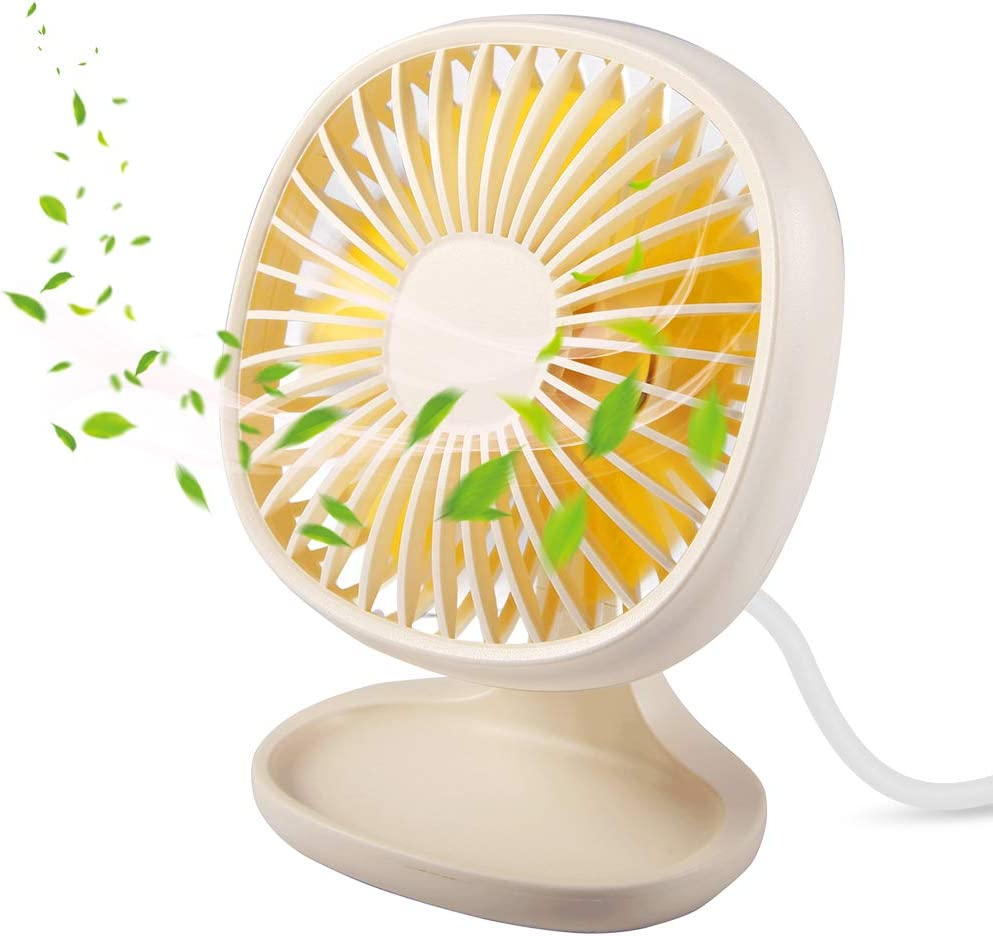 Mini Desktop Fan USB White, TekHome Electric Stand Up Desk Fan Multiple Speeds for Office, Best Powerful Plastic Table Fan 2019 for Kids, 4 Inch, AC Powered, 90°Up&Down, Top 2019 Gifts for Women.