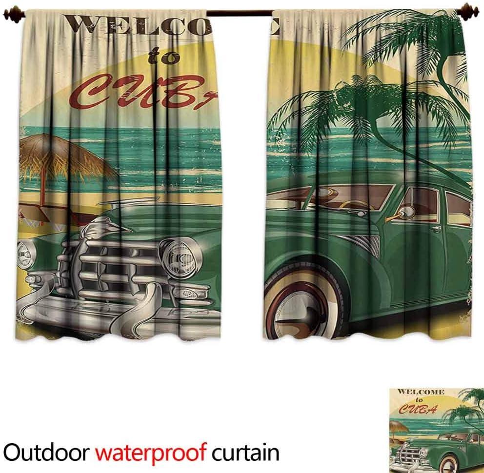 XXANS - Cortinas para patio al aire libre, diseño retro nostálgico, impresión artística de bienvenida a Cuba con palmeras clásicas para el coche, playa, océano, sombra insonorizada, color verde, crema y amarillo: