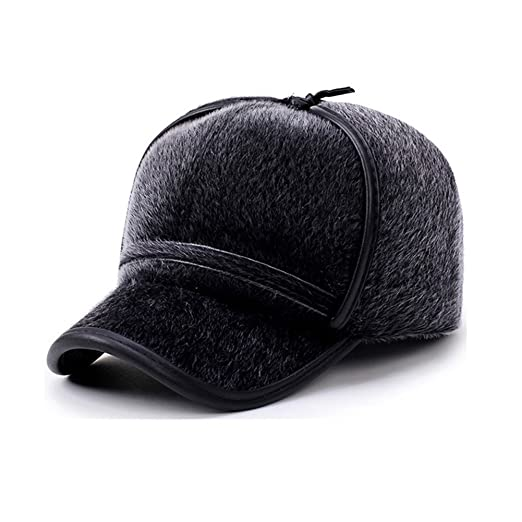 520f98a86499c QINGYU Winter Russian Hat Wool Baseball Cap Warm Ear Flap Hat Fitted Hunt  Military Hats Adjustable Warm Army Cap for Men (Grey) at Amazon Men s  Clothing ...