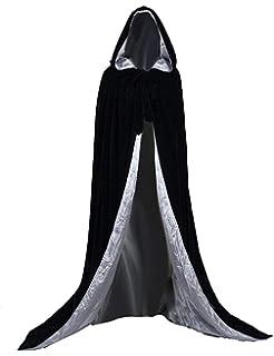 Kengtong Halloween Party Cape Longue avec Capuche en Velours Noir Cosplay  Costume fea1ca75049