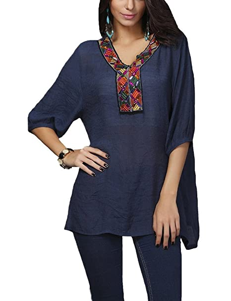 401efc6217 Rokou Women Bohemia Embroidered Beaded Neck 3/4 Sleeve Blouse Shirt Tunic  Tops