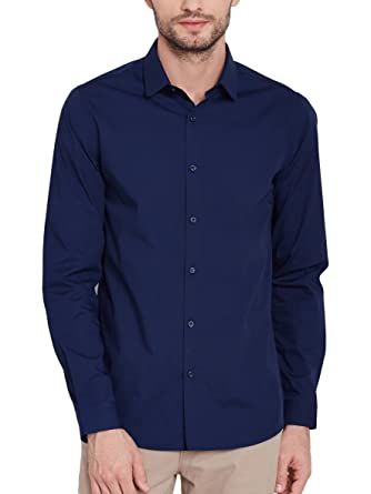 a0f86f76e Oshano Men's Navy Blue Cotton Casual Formal Plain Solid Full Sleeves Slim  Fit Shirt for Men