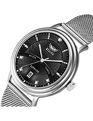 Mens Quartz Watch, KESONA Sapphire GlassThin Stainless Steel Classic CalendarWatchWaterproof Casual Mesh Strap...