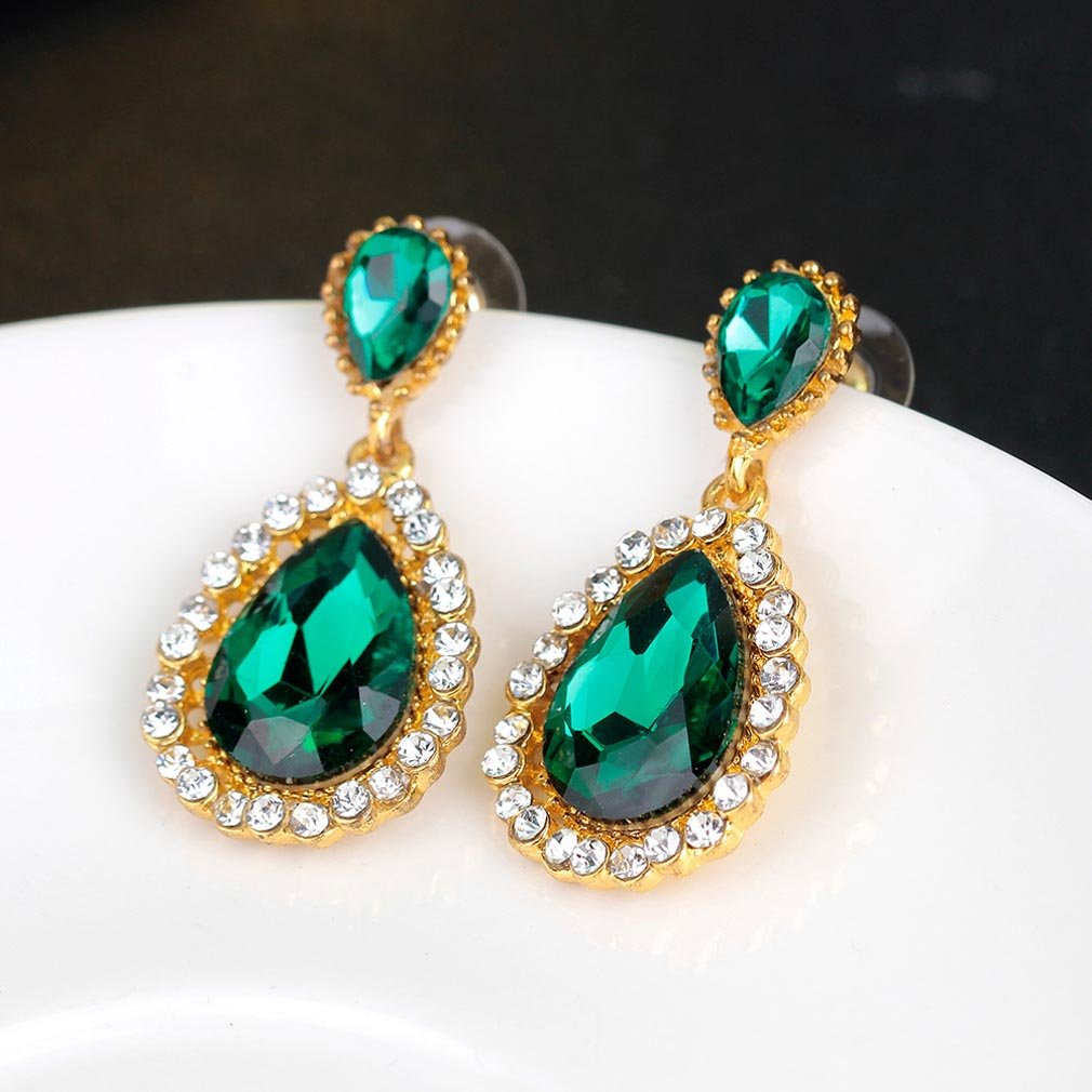 YAZILIND Emerald gold plated earrings rhinestone zirconia gemstone Dangling Drop Earrings