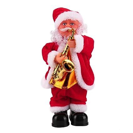 upxiang Papá Noel bebé suave peluche cantando muñeca de dibujos animados de peluche de regalo de