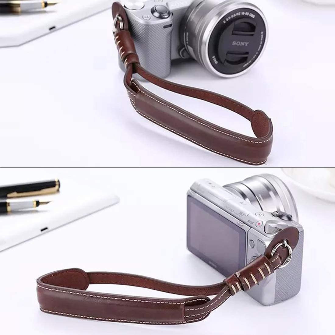 JINGZ Wrist Strap Grip PU Leather Hand Strap for SLR//DSLR Cameras Durable Color : Black