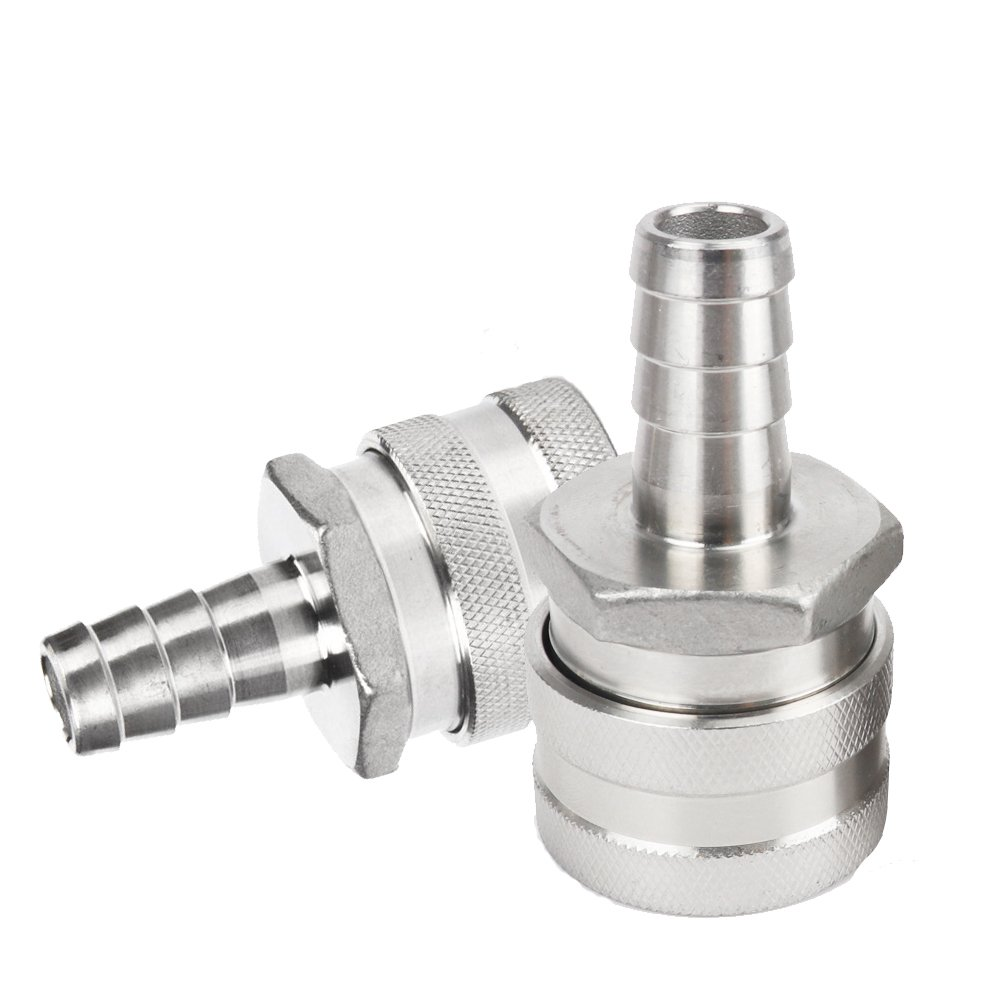 ProMaker 2 Pack 1/2'' Barb Female Stainless Steel Quick Disconnect Home Brew Fitting Connector Homebrewing