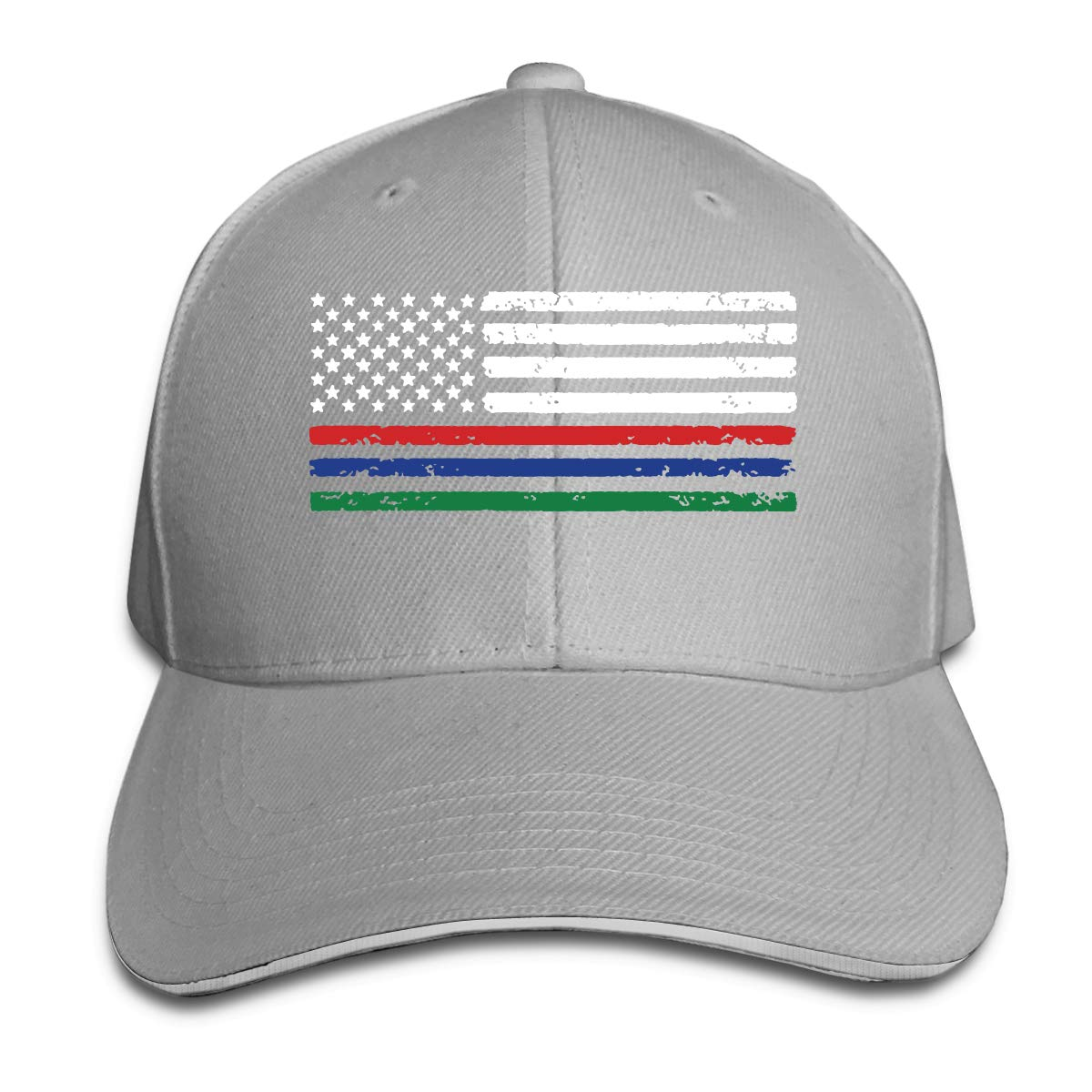Mens and Womens Adjustable Thin Red Blue Green Line American Flag Peak Cap Cotton Duckbill Cap for Mens and Womens