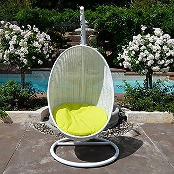 White Neon Yellow Egg Shape Wicker Rattan Swing Bed Chair Weaved Hanging Hammock