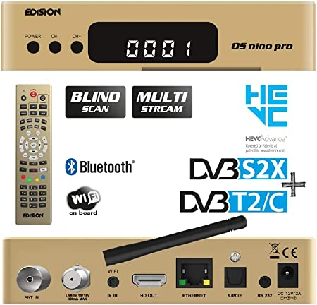 Edision Os Nino Pro Full Hd Linux E2 Combo Receiver H 265 Hevc 1x Dvb S2x 1x Dvb T2 Dvb C Multistream Blind Scan Wlan Onboard Bluetooth Onboard 2x Usb Hdmi Lan Linux Kartenleser Gold Heimkino Tv
